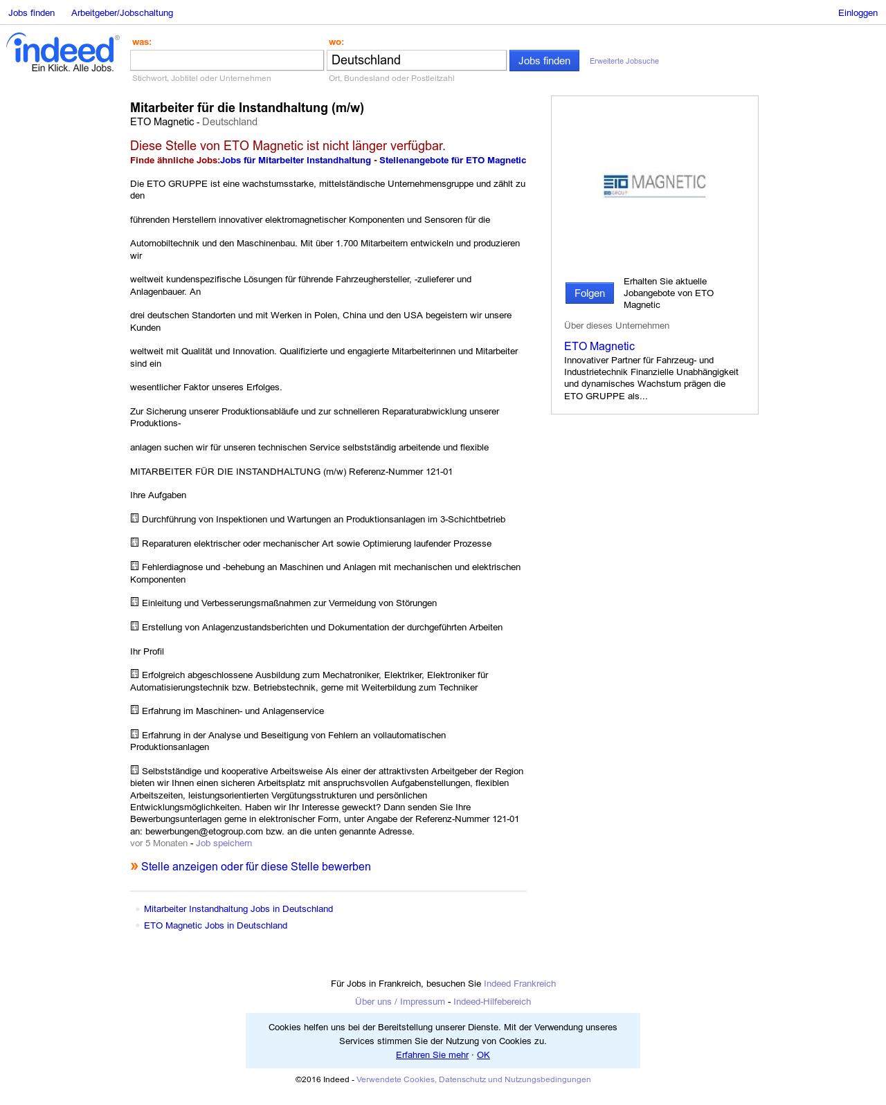 Mitarbeiter für die Instandhaltung (m/w) Job - ETO Magnetic ...