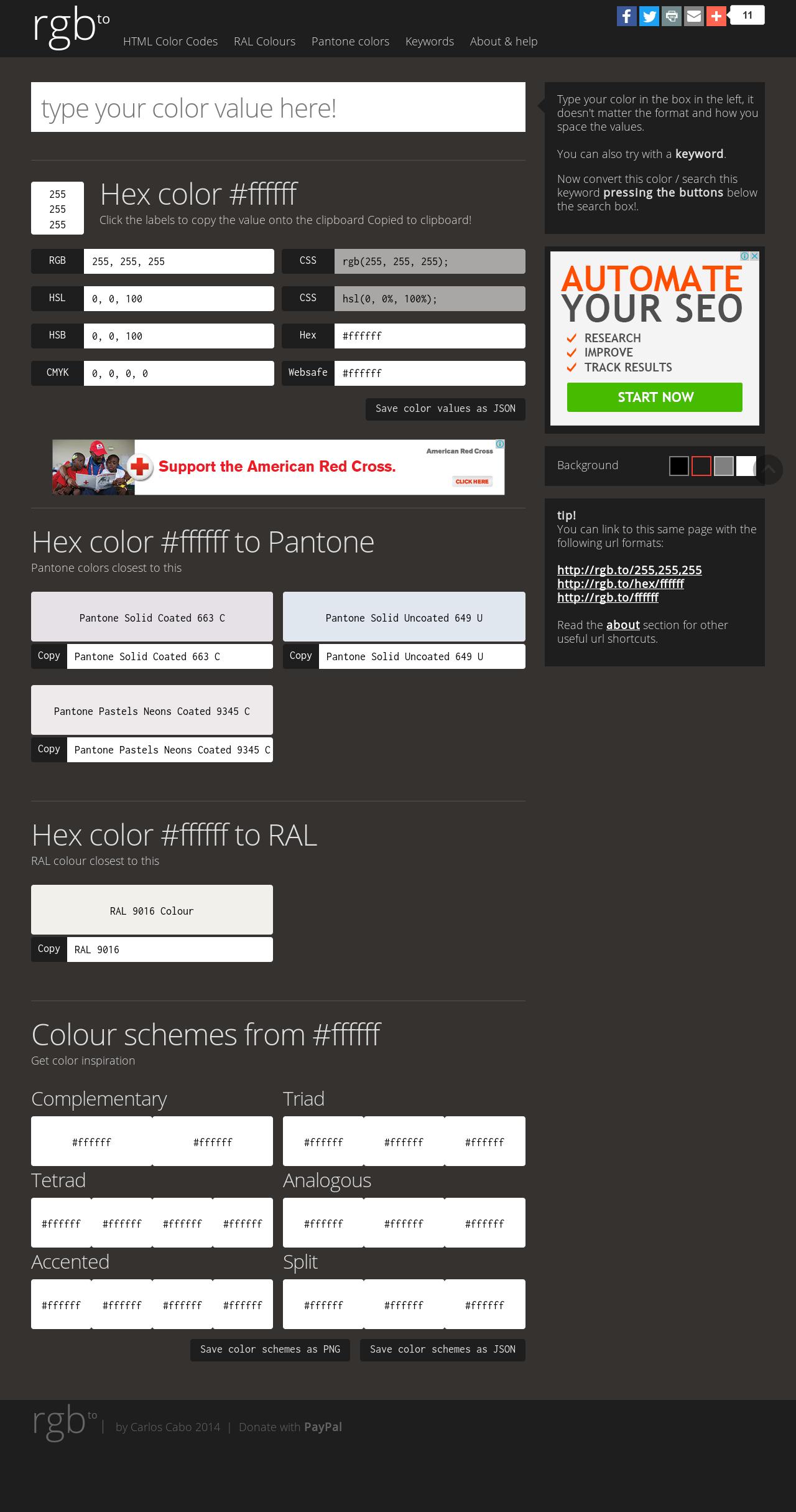 Ral Pantone hex color ffffff to rgb pantone ral hsl hsb json get color