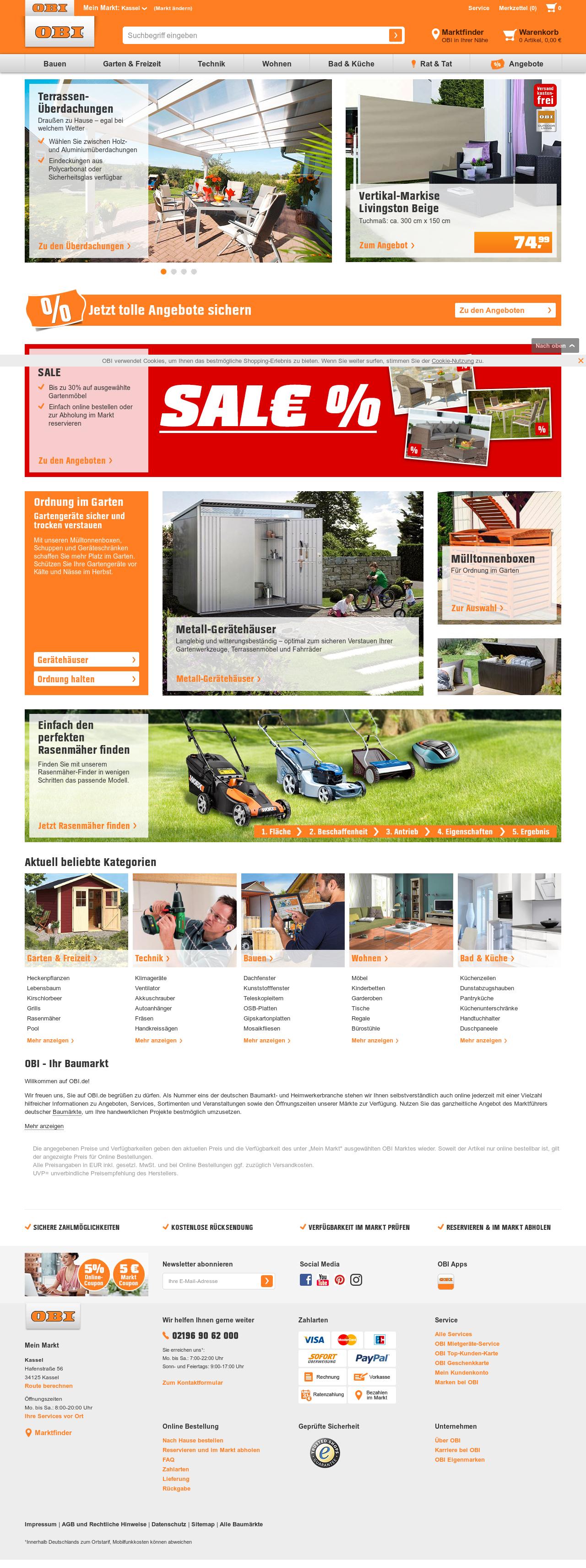 OBI Baumarkt & line Shop alles für Heim Haus Garten und Bau