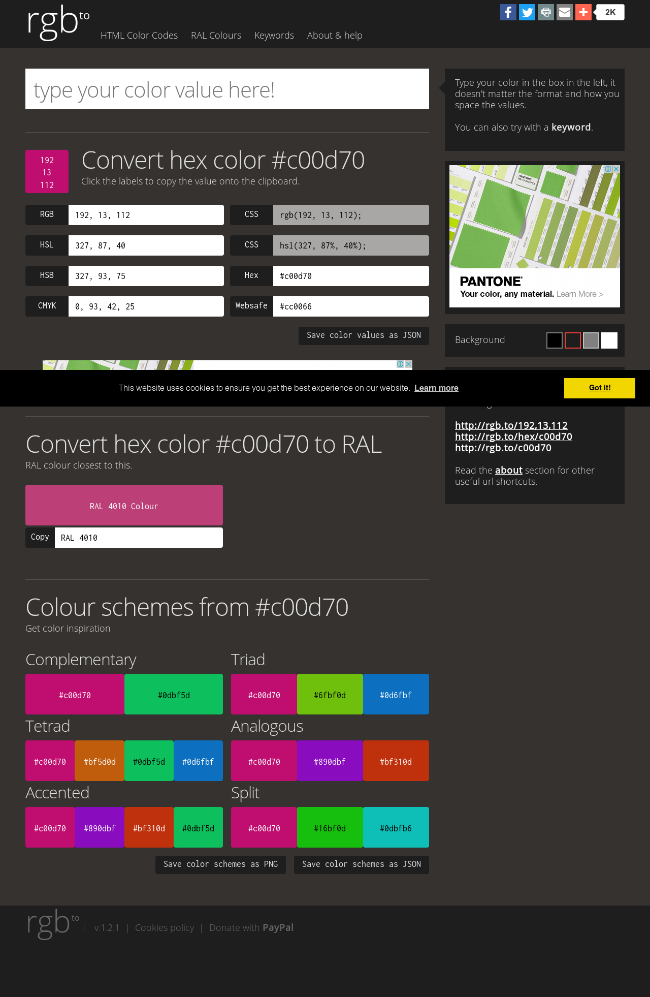 Ral Pantone convert hex color 2582ff to rgb pantone ral hsl hsv hsb json