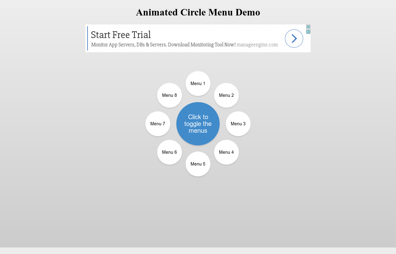 Animated Circle Menu Demo | Hypershoot
