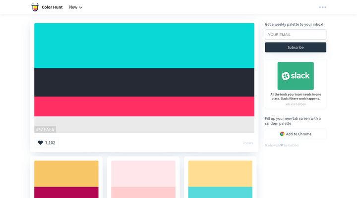 Color Hunt - Beautiful Color Palettes   Hypershoot
