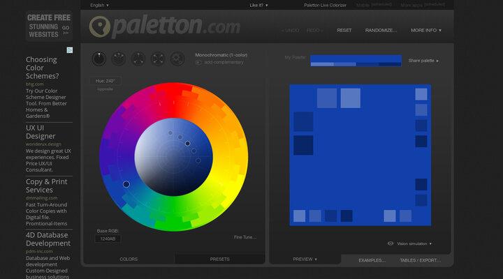 Paletton - The Color Scheme Designer   Hypershoot